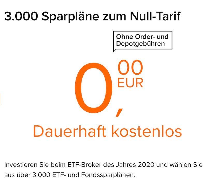Bild: flatex-Sparplan-Angebot