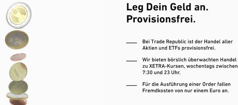 Trade Republic Depot kosten - provisionsfreier Handel